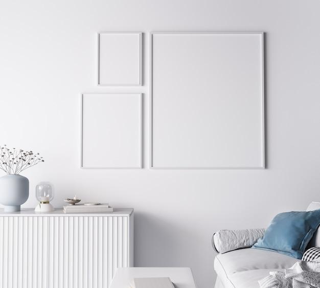 Cornice dal design moderno del soggiorno, tre cornici sul muro bianco brillante
