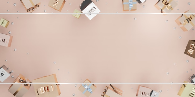 Cornice capodanno e natale sfondo confezione regalo palloncini e nastro illustrazione 3d