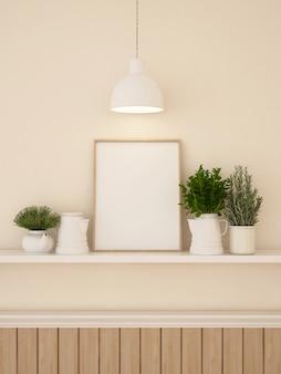 Decration frame e wall per opere d'arte o galleria- rendering 3d