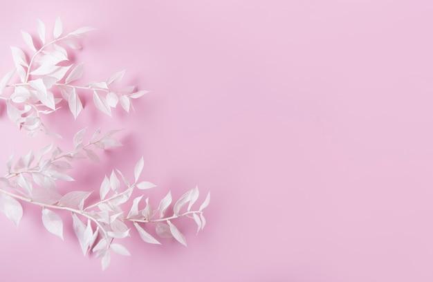 Cornice di rami bianchi con foglie su sfondo rosa