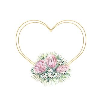 Cornice con fiori di protea, foglie tropicali, foglie di palma, fiori di bouvardia