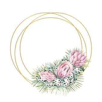 Cornice con fiori di protea