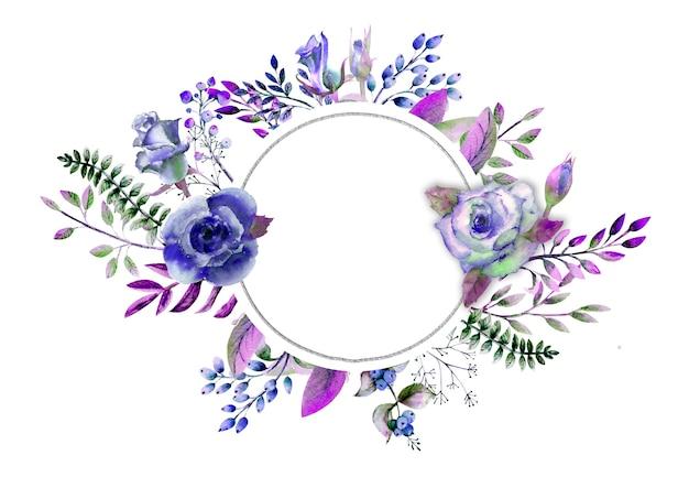 Cornice con rose, foglie, bacche, ramoscelli decorativi. concetto di matrimonio con fiori. composizione acquerello nei toni del blu per biglietti di auguri o inviti.