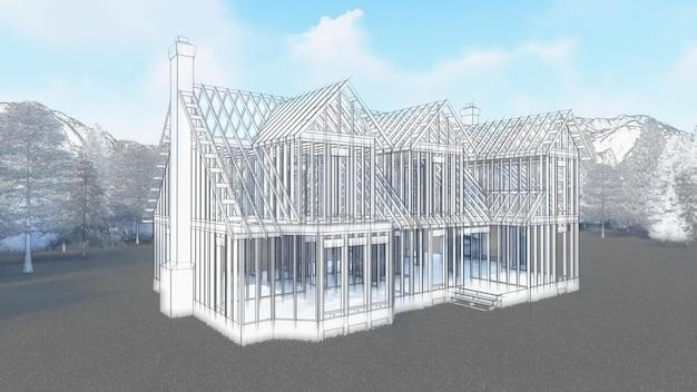 Il telaio di una casa in legno su fondamenta in cemento con camino e canna fumaria. illustrazione che simula il disegno a mano con matita e acquerello. rendering 3d.