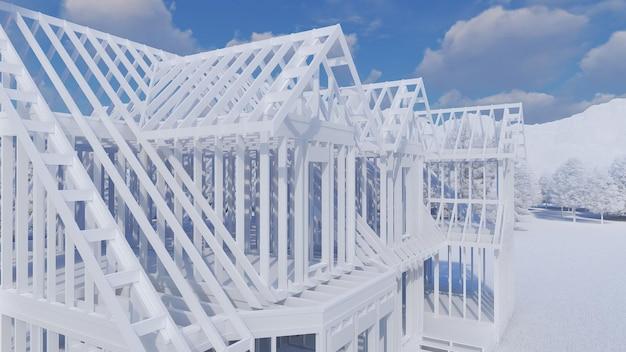 Il telaio di una casa in legno su fondamenta in cemento con camino e canna fumaria. illustrazione nello stile di un layout di plastica con un ambiente dettagliato. rendering 3d.