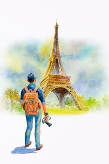 Francia, torre eiffel e turista di un uomo, pittura ad acquerello