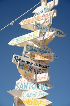 Segnali stradali a scelta libera punto di riferimento di viaggio e concetto di vacanza cielo blu sullo sfondo
