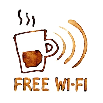 Wi-fi gratuito segno da macchie di caffè su sfondo bianco