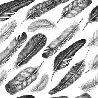 Penna da disegno a mano libera di piume di uccelli. modello senza cuciture tribale. isolato su sfondo bianco in stile grafico.