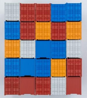 Contenitore di trasporto merci isolato su sfondo bianco, contenitori di carico società di affari globali industria import export logistica spedizione trasporto e consegna.