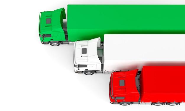 Camion merci con bandiera italiana. rendering 3d. vista dall'alto