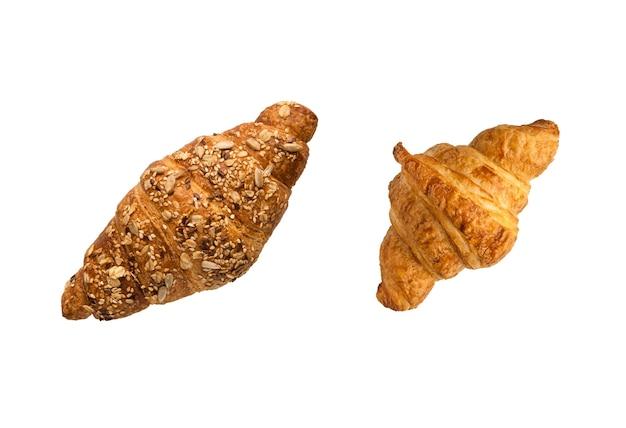 Croissant francesi su uno sfondo bianco vista dall'alto
