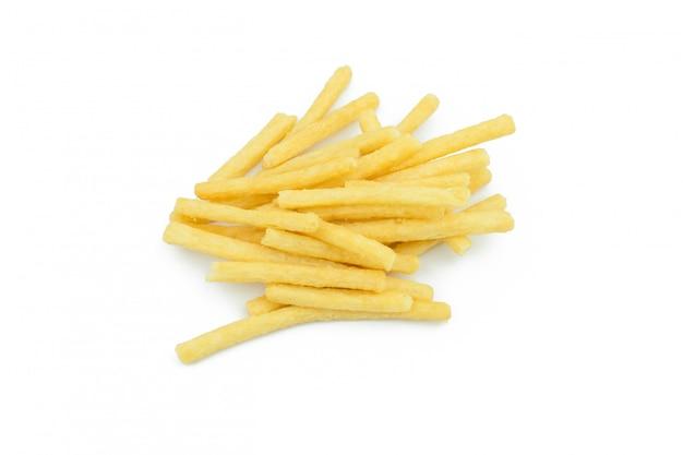 Patate fritte isolate su fondo bianco