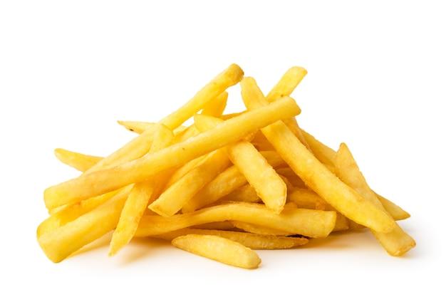 Patate fritte su uno sfondo bianco