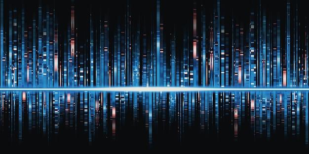 Spettro di frequenza dell'illustrazione 3d delle strisce luminose dell'equalizzatore dell'onda sonora blu della musica