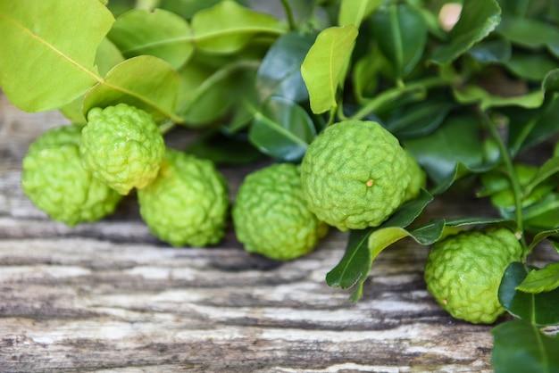 Fresco di bergamotto, kaffir lime, citrus bergamia con foglia su legno di agrumi bergamotto