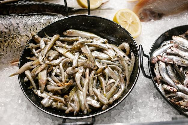 Pesce fresco di mare nero pronto per la vendita sul bancone dei pescatori