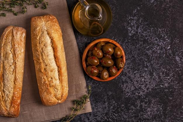Pane fresco con snack