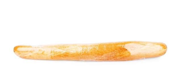 Panino fresco in sacchetto di plastica isolato su bianco