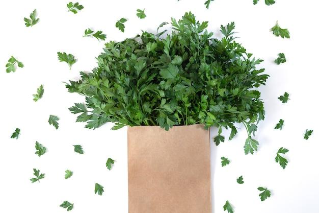 Mazzo fresco di coriandolo, coriandolo o prezzemolo nel sacchetto di carta isolato su priorità bassa bianca