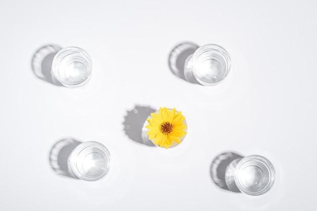 Bevanda fresca acqua limpida con fiore giallo in vetro su sfondo bianco, composizione creativa luce dura, vista dall'alto