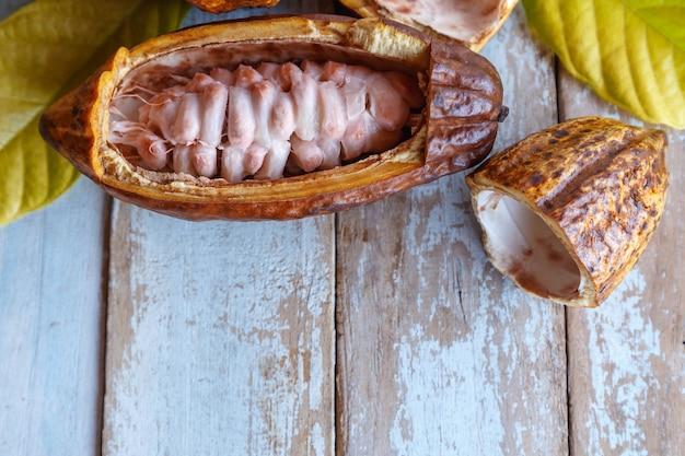 Baccelli di cacao fresco e foglie di cacao su una superficie di legno