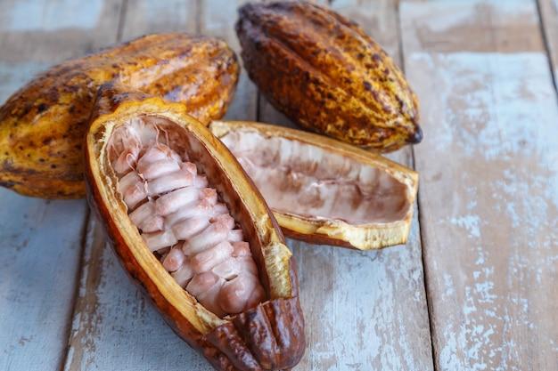 Baccelli di cacao fresco e foglie di cacao sulla tavola di legno