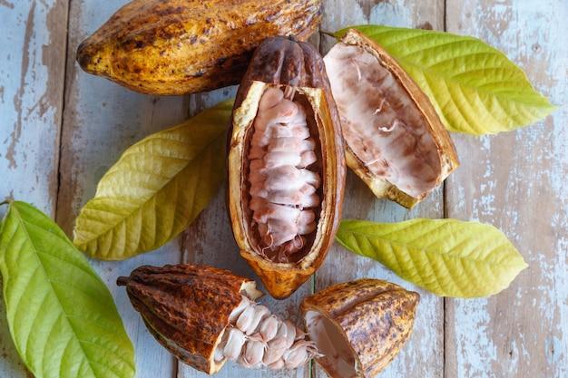 Baccelli di cacao freschi e foglie di cacao sul tavolo di legno