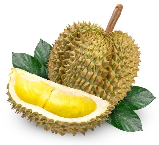Durian fresco con foglia isolato su uno spazio bianco.