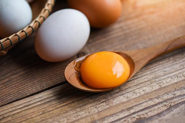 Tuorlo d'uovo fresco sul cucchiaio di legno con uova di gallina e uova di anatra