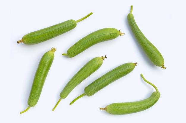 Zucca o orza verde fresca della spugna sulla superficie bianca