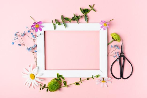 Forbici e taccuino per fiori di erbe aromatiche fresche per fare erbario con cornice
