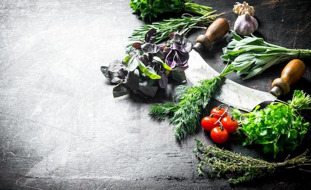 Erbe aromatiche fresche dal giardino di casa con coltello, pomodori e aglio sul tavolo di legno scuro