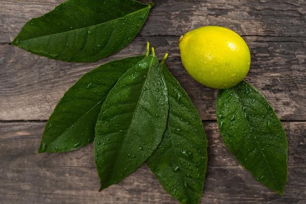 Limone fresco su fondo di legno