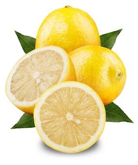 Limoni freschi su sfondo bianco