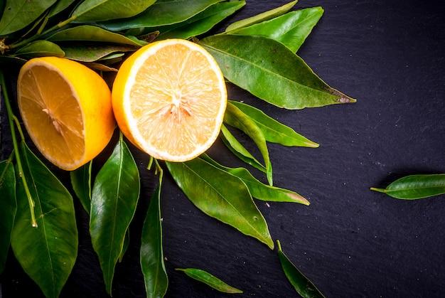 Limoni freschi con foglie