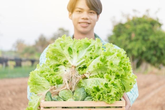 Verdura biologica locale fresca in una scatola di legno che tiene con giovane allegro, concetti di giovane agricoltore intelligente