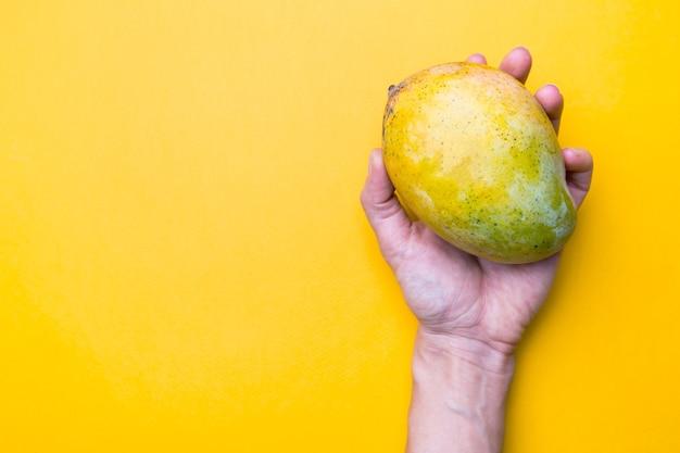 Mango fresco in una mano sul giallo