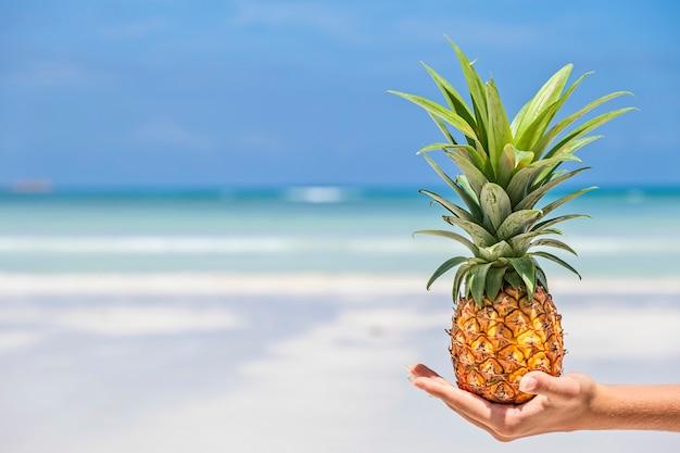 Mini ananas fresco sulla mano della donna alla spiaggia tropicale e al fondo del mare. concetto di estate tropicale