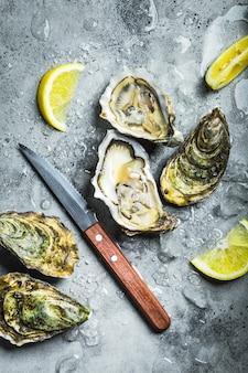 Ostriche fresche su ghiaccio, coltello, spicchi di limone. fondo di pietra rustico. ostriche crude fresche aperte.