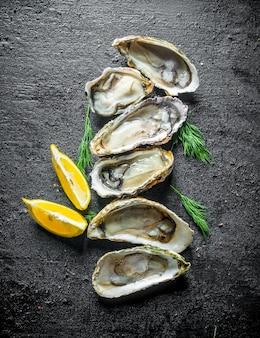 Ostriche fresche con fette di limone e aneto sul tavolo di legno nero