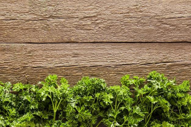Prezzemolo fresco su superficie di legno