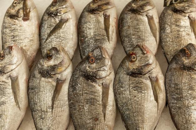 Pesce crudo fresco di dorado su ghiaccio sul bancone. cibo sano e vitamine. vista dall'alto.