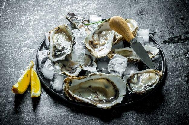Ostriche crude fresche sul piatto con ghiaccio, coltello e fette di limone sul tavolo di legno scuro
