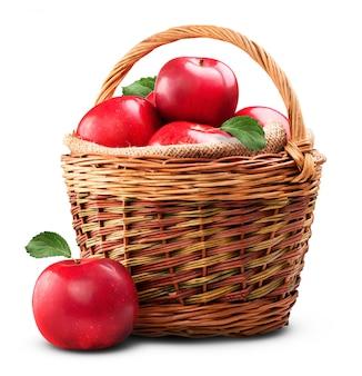Mele rosse fresche isolate su bianco