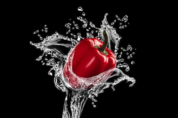 Il peperone rosso fresco viene colpito da un flusso d'acqua su sfondo nero. concetto di spruzzi d'acqua