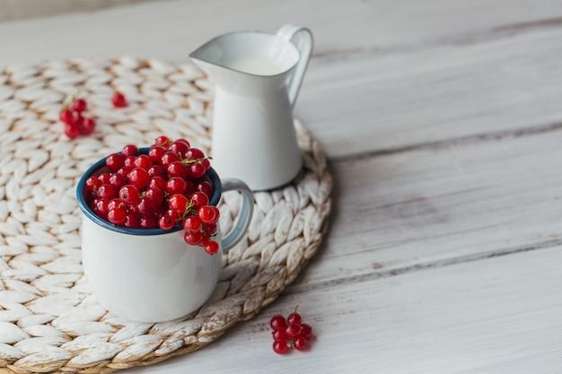 Ribes rosso fresco e latte in una tazza di metallo smaltato bianco