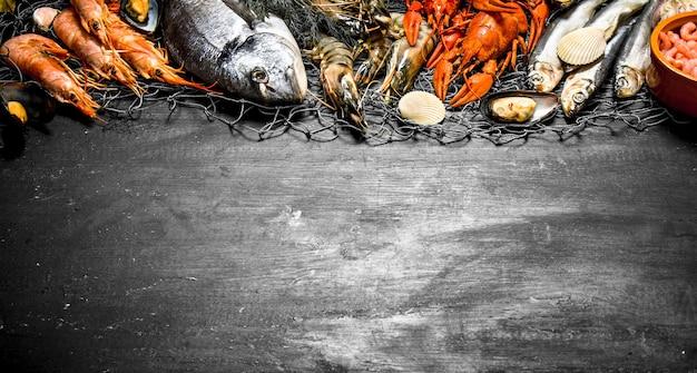 Pesce fresco vari gamberetti marini, crostacei e aragoste alla rete da pesca su una lavagna nera