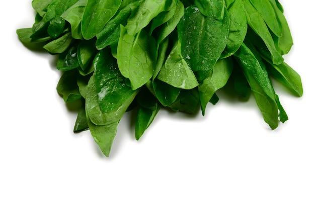 Foglie di spinaci freschi come sfondo.