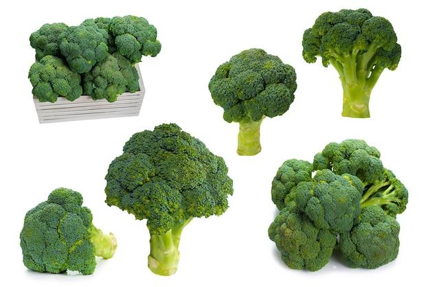 Broccoli saporiti freschi isolati su fondo bianco.
